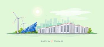 Electric Power coloca con el sistema del almacenamiento de la batería stock de ilustración
