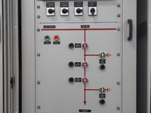 Electric power control panel in the gray cabinet stock photo