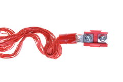 Electric power distribution cable with terminal block Stock Image