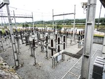 Electric power distribution station. Next to the Pinheiros River, west of Sao Paulo stock image