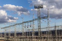 Electric power distribution station Royalty Free Stock Images