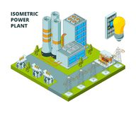 Electric power factory. Industrial electricity plant or station energy buildings vector 3d isometric pictures. Illustration of power energy electricity plant vector illustration