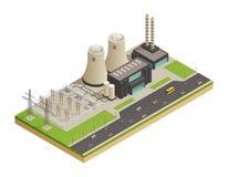 Electric Power-Generator-isometrische Zusammensetzung Lizenzfreie Stockfotografie