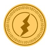 Electric Power golden digital coin icon. Vector style is a gold yellow flat coin cryptocurrency symbol. Eps 10 Royalty Free Stock Image