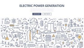 Electric Power-het Concept van de Generatiekrabbel stock illustratie