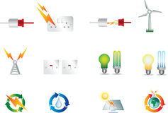 Electric Power Icons Stock Photography