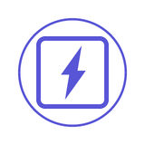 Electric power, lightning bolt circular line icon. Round sign. Flat style vector symbol. Electric power, lightning bolt circular line icon. Round sign. Flat stock illustration