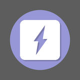 Electric power, lightning bolt flat icon. Round colorful button, circular vector sign with shadow effect. Flat style design. Royalty Free Stock Photography
