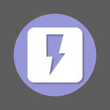 Electric power, lightning bolt flat icon. Round colorful button, circular vector sign with shadow effect. Flat style design. Stock Image