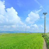 Electric power line, green field and blue sky. Electric power line pylons in a green field and a light cloudy blue sky in spring season.Tuscany, Italy Stock Images