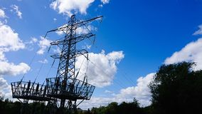 Electric power line grid transformer step down stock images