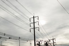 Electric power line pole Royalty Free Stock Images