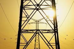 Electric Power Line Pylon Royalty Free Stock Photos