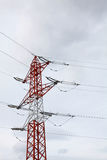 Electric power line pylon over sky Stock Photography