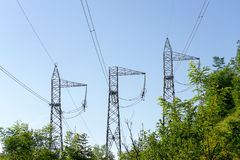 Electric power line towers Royalty Free Stock Image