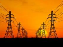 Electric power lines. 3D Electric power lines over sunrise Stock Photos