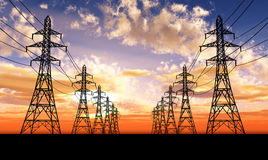 Electric power lines Royalty Free Stock Image