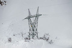 Electric Power Lines connector in the snow Stock Images