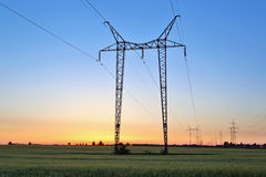 Electric power lines and pylon Stock Image