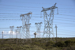 Electric power lines South Africa Royalty Free Stock Image