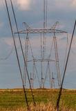 Electric power lines tower Stock Photo