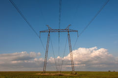 Electric power lines tower Royalty Free Stock Image