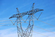 Electric Power Lines and Transformers. Transformers and power lines carrying energy Stock Photo