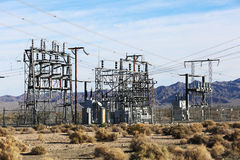 Electric Power Lines and Transformers Royalty Free Stock Photos