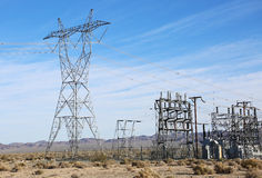 Electric Power Lines and Transformers. Transformers and power lines carrying energy Stock Images