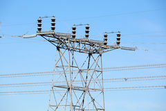 Electric Power Lines and Transformers Towers Royalty Free Stock Images