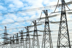 Electric power masts. Energy. Plant stock photography