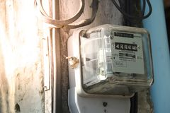 Electric power meter measuring power usage. royalty free stock photos