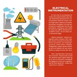 Electric power obtainment and usage promotional poster with sample text. Plant pipes, wind generators, simple and economical bulb, solar battery, big tool box stock illustration