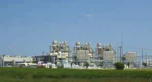 Electric power plant. And transmission lines royalty free stock images