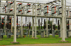 Electric power plant. High voltage electric converters at a power plant Royalty Free Stock Photo