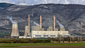 Electric power plant at Greece. Charcoal electric power plant at Greece Stock Photos