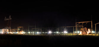 Electric power plant by night Royalty Free Stock Image