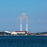 Electric Power Plant with Pipes Stock Image