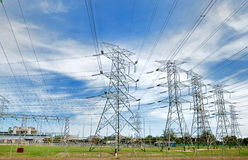 Electric Power Plant Series 01. High Voltage Electric Power Plant Royalty Free Stock Images