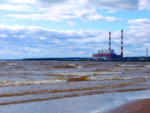 Electric power plant shoreline Royalty Free Stock Photography