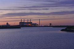 Electric Power Plant at Twilight Royalty Free Stock Images