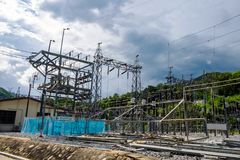 Electric Power planta al aire libre por la mañana Fotos de archivo