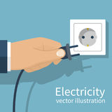 Electric power plug. Holding in hand. Unplug, plugged in wall socket. Vector illustration flat design. Connecting power plug Stock Image