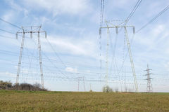 Electric power pole lines Royalty Free Stock Images