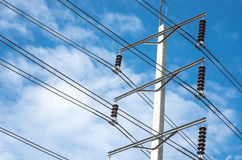 Electric power pole with sky background Stock Image