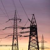Electric power poles royalty free stock photos