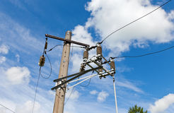 Electric power post with wire Royalty Free Stock Photos