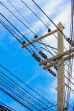 Electric power post with wire Royalty Free Stock Photo