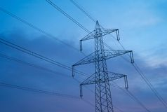 Electric Power Pylons in Beautiful Morning Light stock images