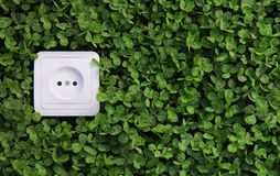 Electric power receptacle on a green grass background Royalty Free Stock Photos